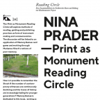 NINA PRADER  Print as Monument Reading Circle 30/10/19